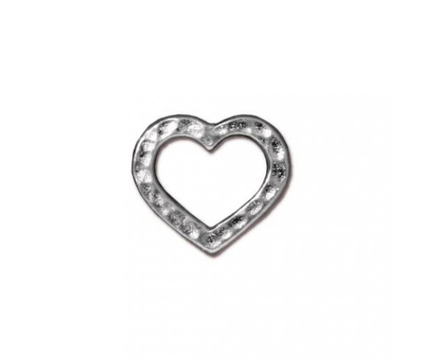 12x14mm Hammertone Heart Link by TierraCast, Bright Rhodium, 1 Piece