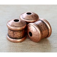 12mm Hammered End Cap by JBB Findings, Antique Copper