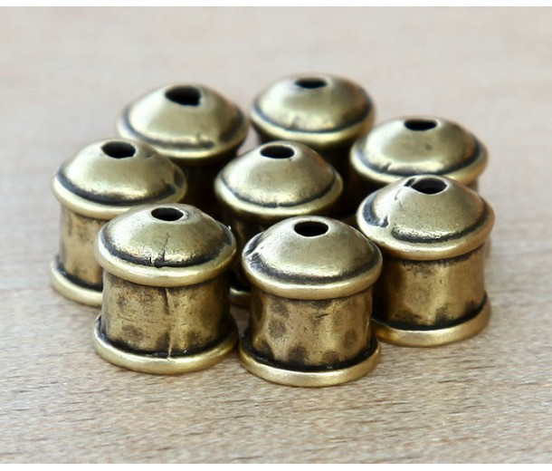8mm Hammered End Cap by JBB Findings, Antique Brass