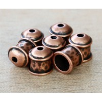 8mm Hammered End Cap by JBB Findings, Antique Copper