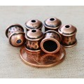 8mm Hammered End Caps by JBB Findings, Antique Copper, Pack of 2