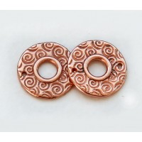 15mm Textured Round Link by JBB Findings, Copper Plated, Pack of 2