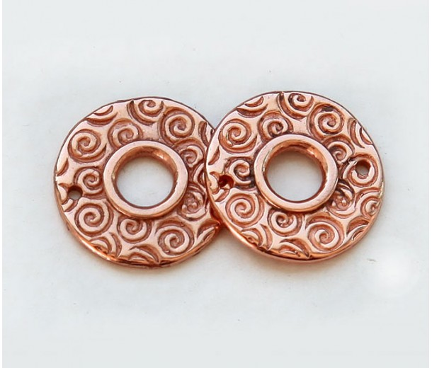 15mm Textured Round Link by JBB Findings, Copper Plated