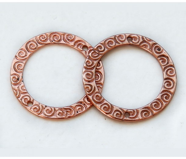 22mm Textured Round Link by JBB Findings, Copper Plated