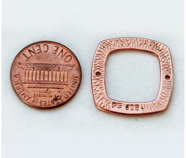 22mm Textured Square Link by JBB Findings, Copper Plated