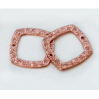 22mm Textured Square Links by JBB Findings, Copper Plated, Pack of 2