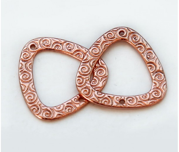 22mm Textured Triangle Links by JBB Findings, Copper Plated, Pack of 2