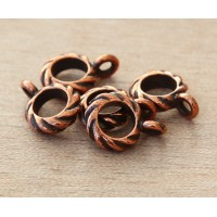 13mm Twisted Large Hole Bail by TierraCast, Antique Copper