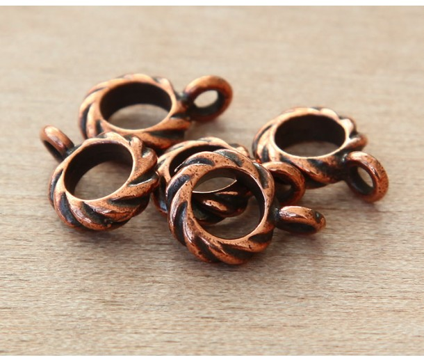 13mm Twisted Large Hole Bail by TierraCast, Antique Copper, 1 Piece