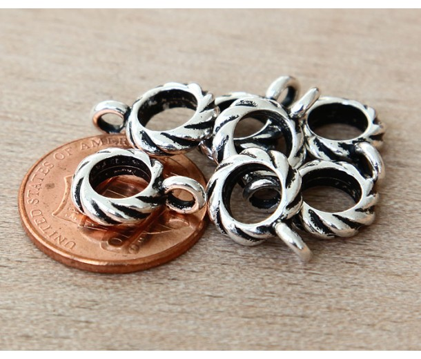 13mm Twisted Large Hole Bail by TierraCast, Antique Silver, 1 Piece