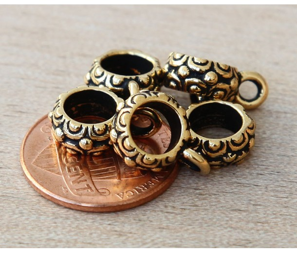 13mm Oasis Large Hole Bail by TierraCast, Antique Gold