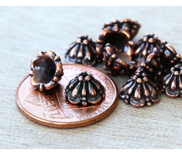 8mm Tiffany Bead Caps by TierraCast, Antique Copper, Pack of 10