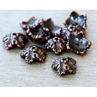 10mm Oak Leaf Bead Cap by TierraCast, Antique Copper, Pack of 8