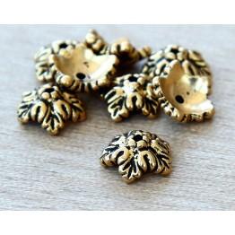 10mm Oak Leaf Bead Cap by TierraCast, Antique Gold