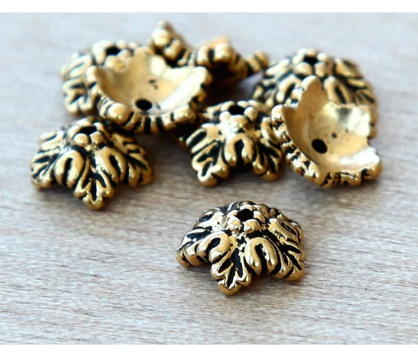 10mm Oak Leaf Bead Cap by TierraCast, Antique Gold, Pack of 8