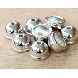 9mm Classic Dome Bead Cap by TierraCast, Bright Rhodium