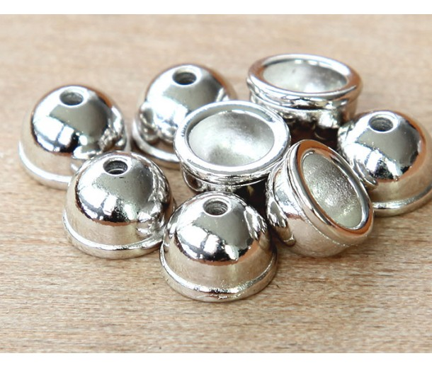 9mm Classic Dome Bead Cap by TierraCast®, Bright Rhodium