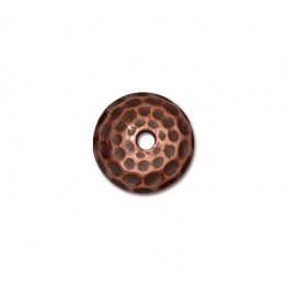 9mm Hammertone Dome Bead Cap by TierraCast, Antique Copper