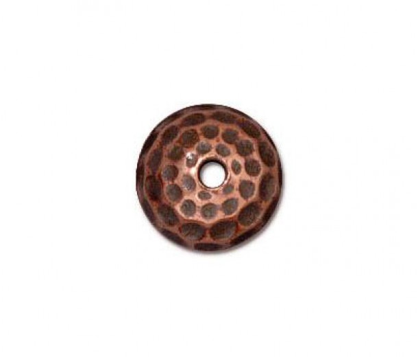 9mm Hammertone Dome Bead Cap by TierraCast®, Antique Copper