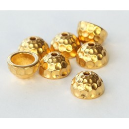 9mm Hammertone Dome Bead Cap by TierraCast, Bright Gold