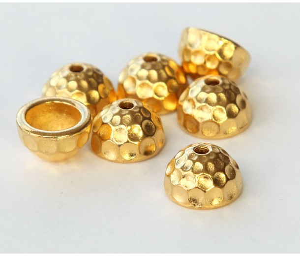 9mm Hammertone Dome Bead Cap by TierraCast®, Bright Gold