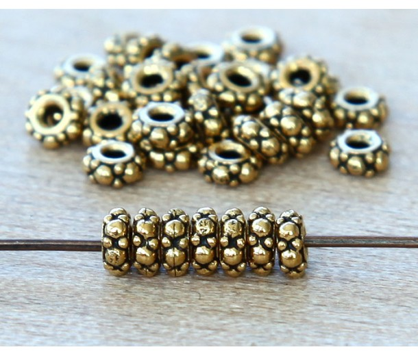 4.5mm Small Turkish Bead by TierraCast, Antique Gold, Pack of 20