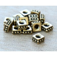 4mm Rococo Square Bead by TierraCast, Antique Gold