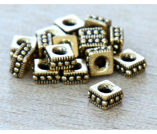 4mm Rococo Square Beads by TierraCast, Antique Gold, Pack of 20