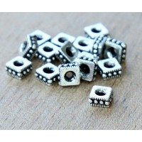 4mm Rococo Square Bead by TierraCast, Antique Silver