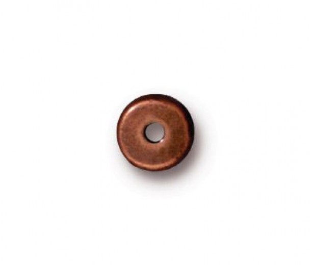 6mm Round Heishi Disks by TierraCast, Antique Copper, Pack of 20
