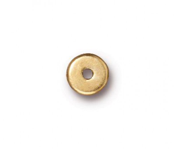 6mm Round Heishi Disks by TierraCast®, Bright Gold