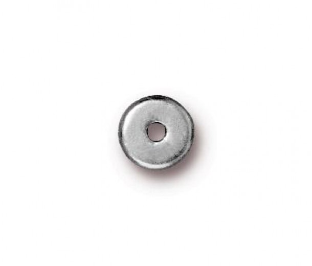6mm Round Heishi Disks by TierraCast, Bright Rhodium, Pack of 20