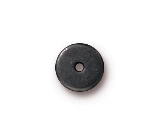 8mm Round Heishi Disks by TierraCast, Black, Pack of 10