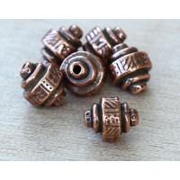 9x8mm Ethnic Barrel Bead by TierraCast®, Antique Copper