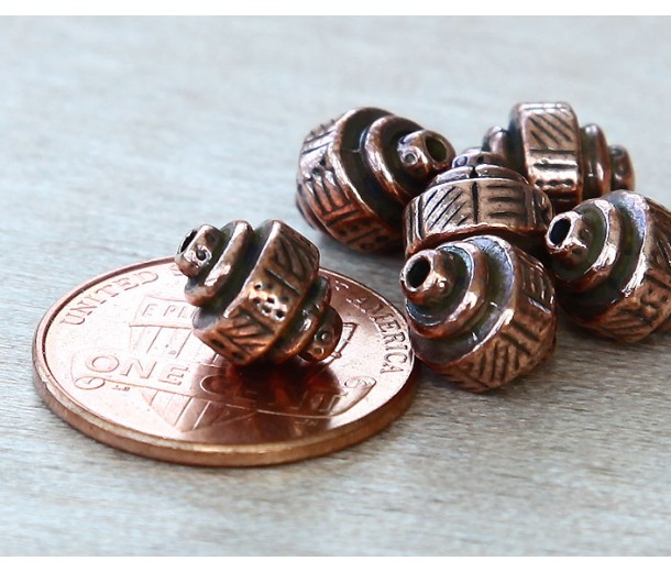 9x8mm Ethnic Barrel Beads by TierraCast, Antique Copper, Pack of 5