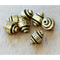 9x8mm Ethnic Barrel Beads by TierraCast, Antique Gold, Pack of 5