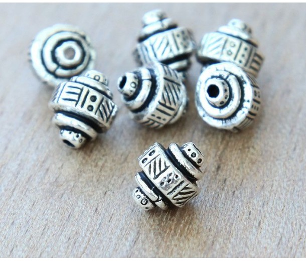 9x8mm Ethnic Barrel Bead by TierraCast, Antique Silver