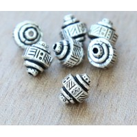 9x8mm Ethnic Barrel Beads by TierraCast, Antique Silver, Pack of 5