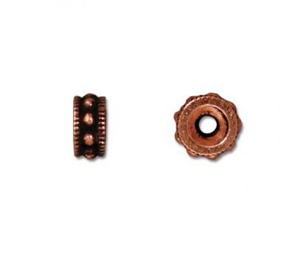 6mm Rococo Round Bead by TierraCast, Antique Copper, Pack of 5
