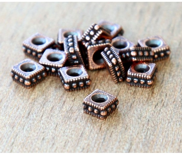 4mm Rococo Square Beads by TierraCast, Antique Copper, Pack of 20