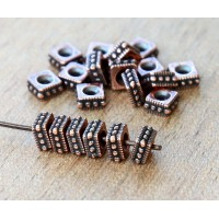 6mm Rococo Square Bead by TierraCast, Antique Copper, Pack of 10
