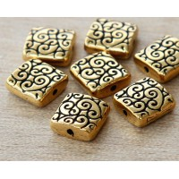 10mm Square Scroll Bead by TierraCast, Antique Gold, 1 Piece
