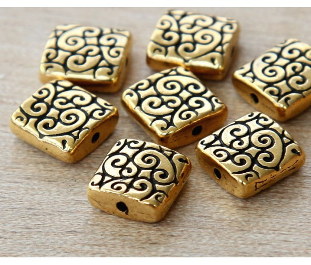 10mm Square Scroll Bead by TierraCast, Antique Gold