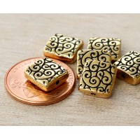 10mm Square Scroll Bead by TierraCast, A..