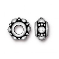 10mm Turkish Euro Bead by TierraCast, Antique Silver, Pack of 2