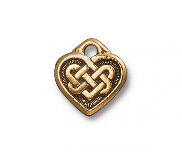 14mm Celtic Heart Drop by TierraCast, Antique Gold, 1 Piece