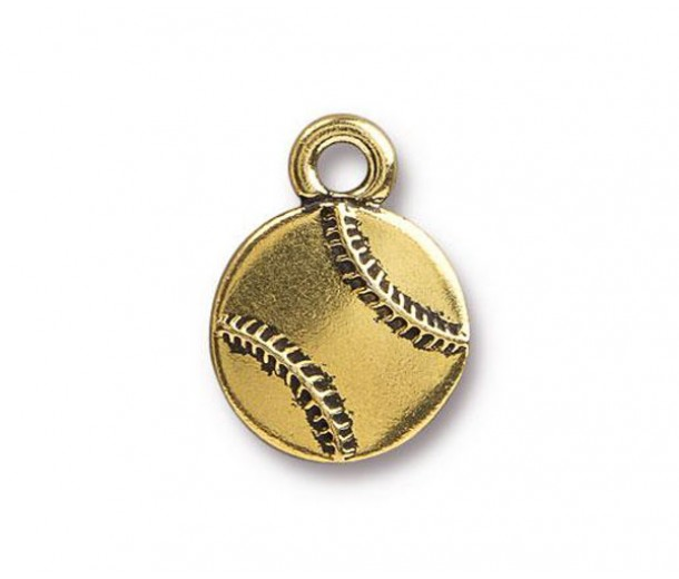 17mm Baseball Charm by TierraCast, Antique Gold, 1 Piece