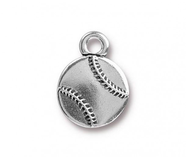 17mm Baseball Charm by TierraCast, Antique Silver, 1 Piece