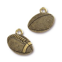 18mm Football Charm by TierraCast, Antique Gold, 1 Piece