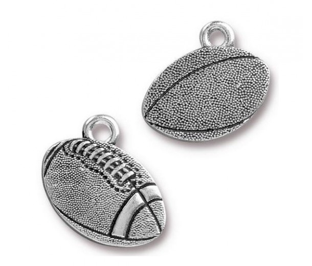 18mm Football Charm by TierraCast, Antique Silver, 1 Piece